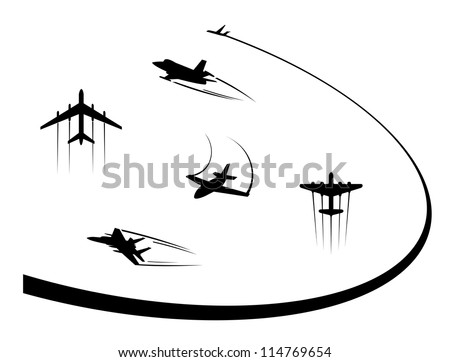 Airplanes and jets symbols for any flight design, such a logo. Jpeg version also available in gallery - stock vector