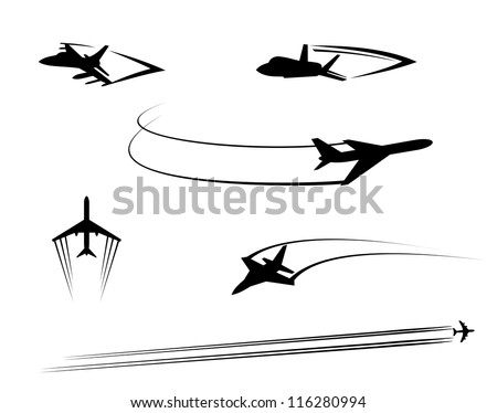 Airplanes and jets symbols for aviation design, such a logo template. Jpeg version also available in gallery - stock vector