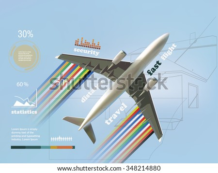 Airplanes and travel infographics, safety statistics for flights, travel template, airplane design - stock vector