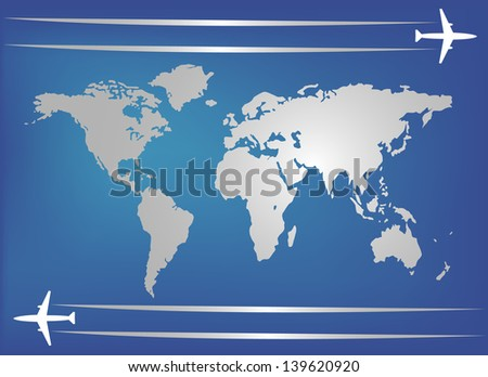 Airplanes and world map - stock vector