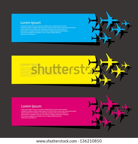 Airplanes banners - vector illustration - stock vector