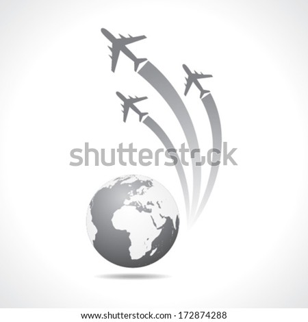 Airplanes flying around a globe stock vector - stock vector