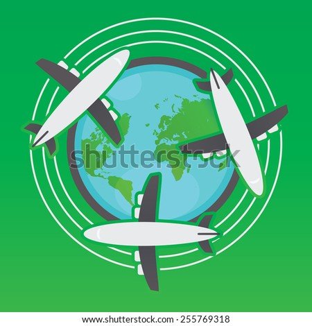 Airplanes going flying the world vector illustration. - stock vector