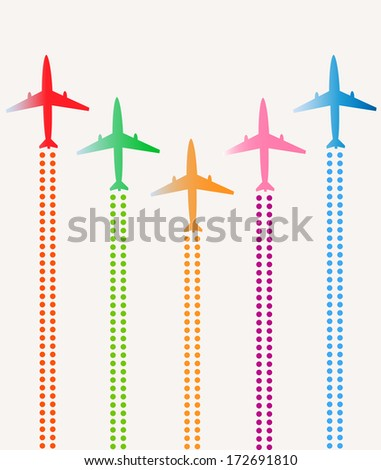 Airplanes group - stock vector