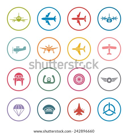 Airplanes icon set - stock vector
