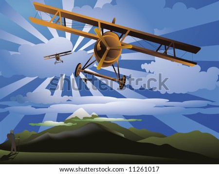airplanes in retro style - stock vector