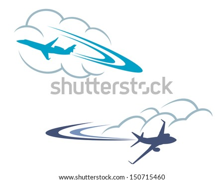 Airplanes in sky or idea of logo. Jpeg version also available in gallery - stock vector