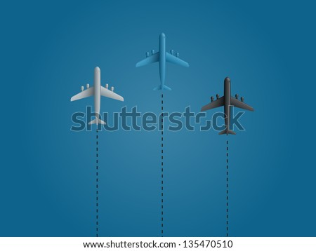 Airplanes on blue background. Vector illustration.
