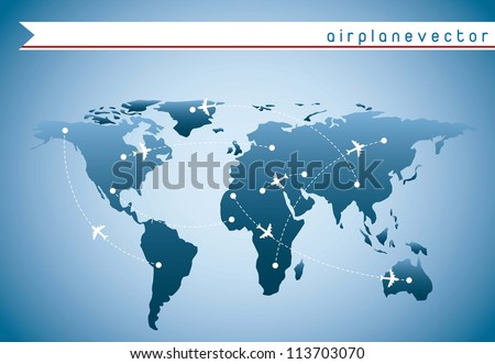 airplanes over blue map with routes over blue background. vector - stock vector