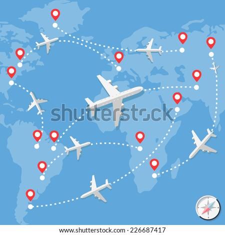 Flight Map Stock Royalty Free & Vectors