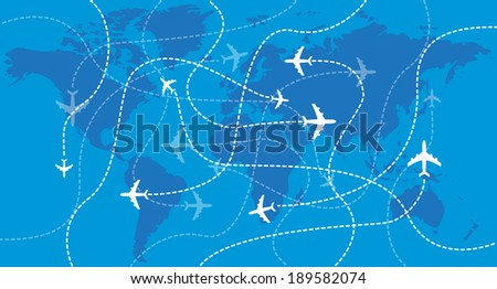 Airplanes over the world map - illustration - stock vector
