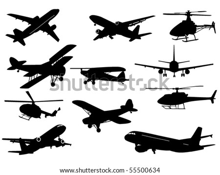 Airplanes sand helicopters - stock vector