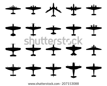Airplanes silhouette set. Isolated on white background. Vector EPS10.