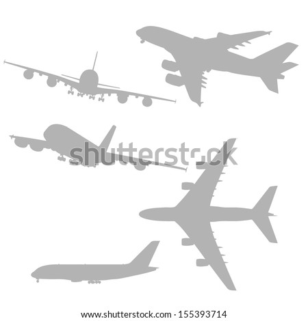 Airplanes silhouettes set - stock vector