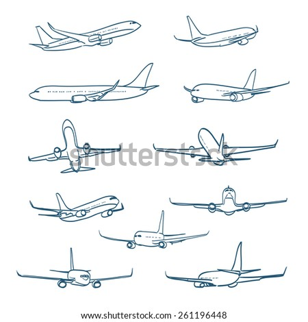 airplanes sketches - stock vector