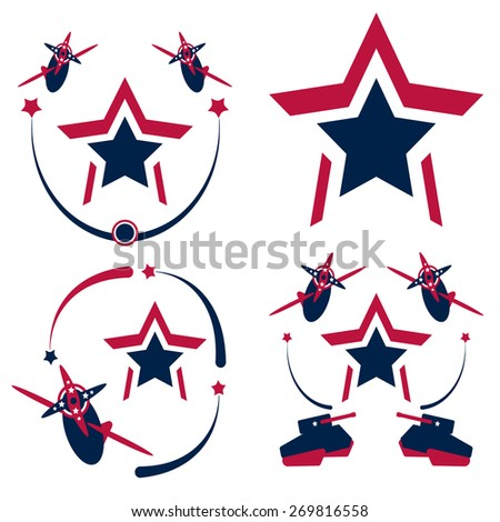 Airplanes, tanks and stars vintage american patriotic set. Perfect for Independence Day celebration design. Vector illustration.  - stock vector