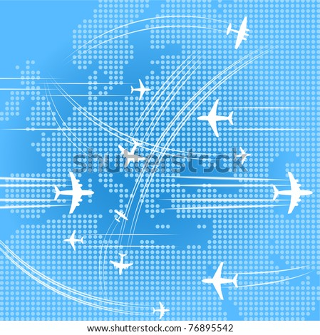 Airplanes trajectories over the map of europe - stock vector