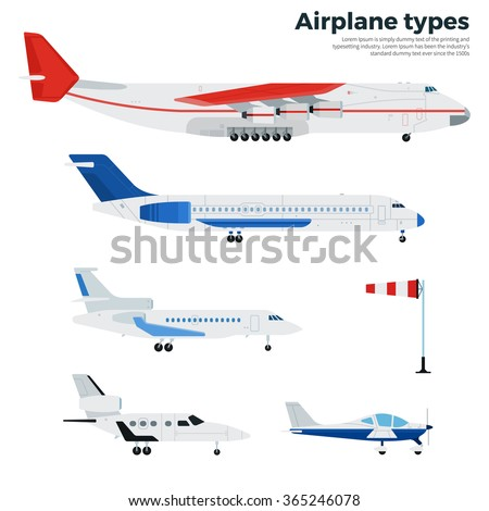 Airplanes vector flat illustrations. Different modern airplanes. Icons for airline companies banners. Several types of modern aircrafts isolated on white background - stock vector