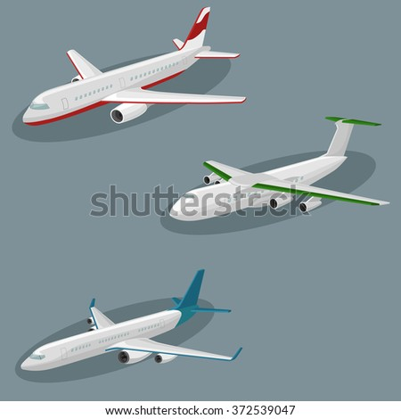 Airplanes vector image design set.