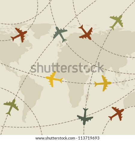 Airplanes Vintage Over Map Background Vector Stock Vector Royalty - Vintage aviation maps