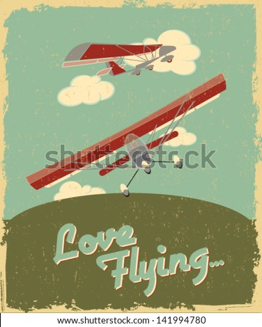 Airplanes vintage poster - stock vector