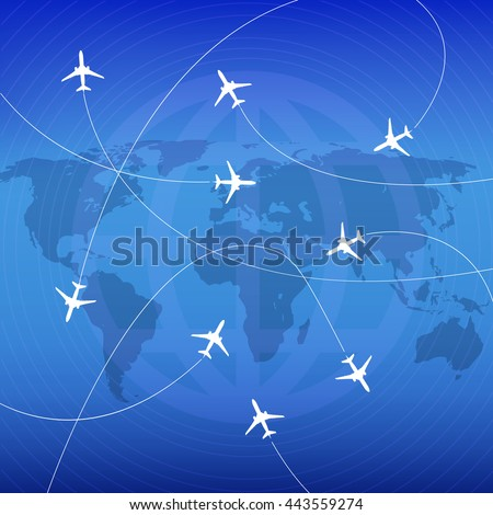 Airplanes with airplane stream jet and paths. Illustration for   poster, print and web projects travel agencies, aviation companies.