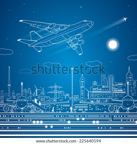 Airport, airplane fly, city infrastructure, vector lines design scene - stock vector