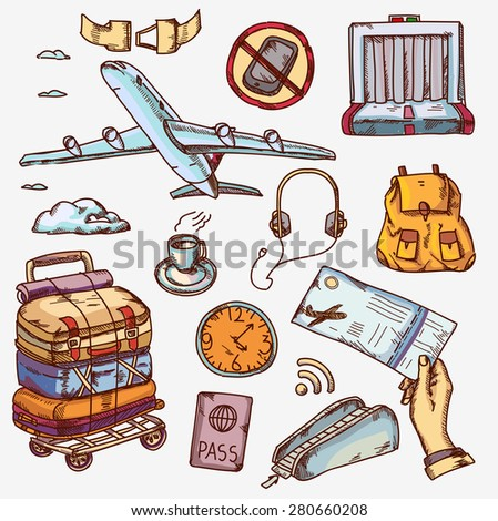 airport and air travel icons concept traveling on airplane tourism journey passenger objects. - stock vector