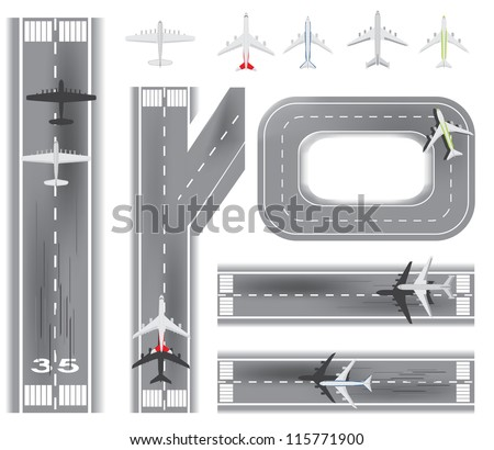 Airport and Airplane set - stock vector