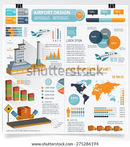 Airport and factory info graphic design on white background,vector - stock vector
