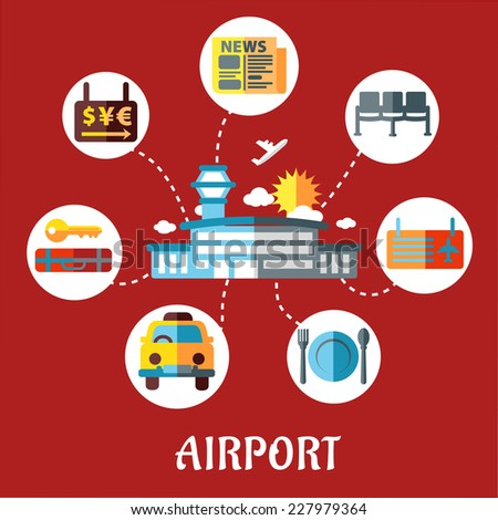 Airport and flight service flat concept for infographic design with airport, taxi, ticket, waiting, baggage, currency exchange and service icons - stock vector