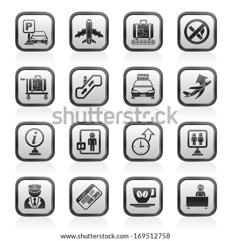 Airport and transportation icons - vector icon set - stock vector