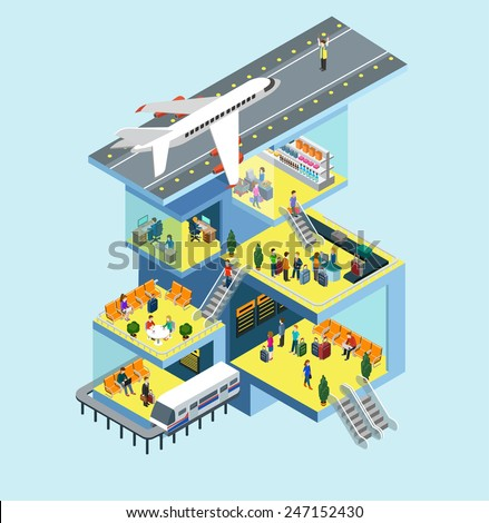 Airport building people, runway, airstrip, landing strip, plane flat 3d web isometric infographic concept vector. Rooms interior, staff, plane departure, passport security control, duty free zone - stock vector