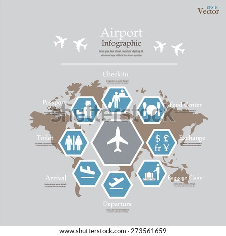 Airport business infographic presentation template concept stock airport business infographic presentation template concept design on world map and airport service icons vector gumiabroncs Gallery