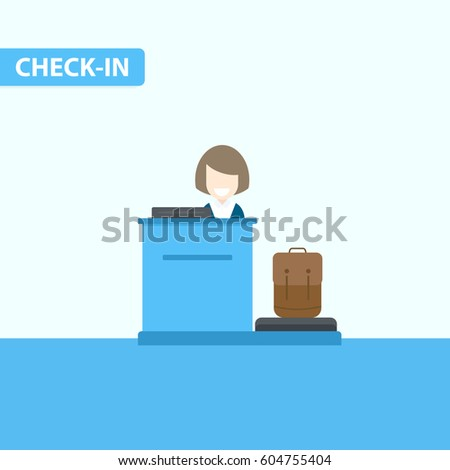 Airport check-in desk. Vector illustration