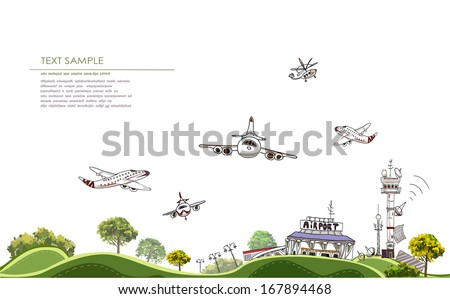 Airport City line collection - stock vector