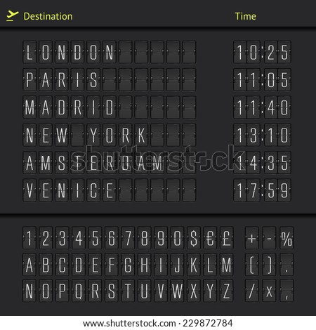 Airport departure arrival destination mechanical counter board template illustration. Vector EPS10. - stock vector