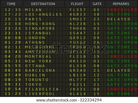 Airport departure board. Airline schedule, vector illustration