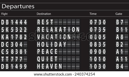 Airport Departures Board with Holiday Theme. Vector - stock vector