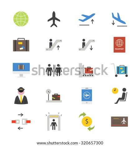Airport Flat Icons color