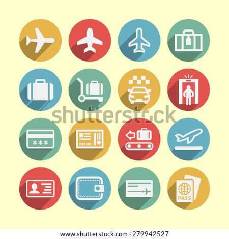 Airport icon set for site