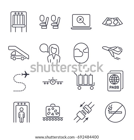 Airport icon set. Universal airport and air travel icons: airplane,baggage, boarding, flight, passport, security, takeoff, air way, seat belts, no smoking. Vector illustration Editable stroke