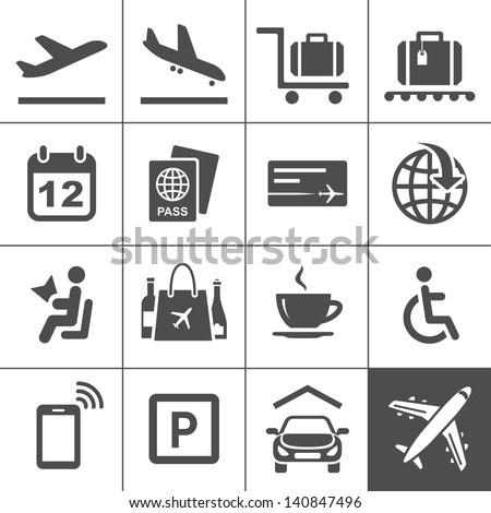 airport icon set universal airport air stock vector