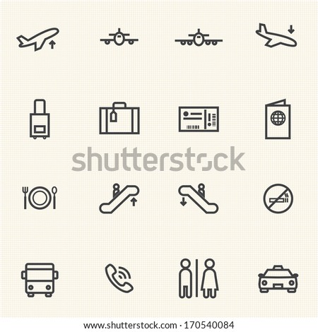Airport icon sets. Line icons. - stock vector