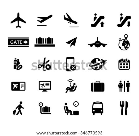 Airport icon vector set