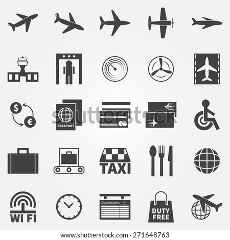 Airport icons - black vector logo or symbols set
