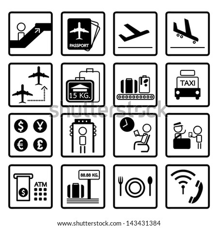 airport icons design set, vector