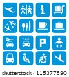 Airport icons - pictogram set - stock vector