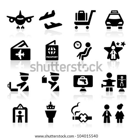 Airport icons set Elegant series - stock vector