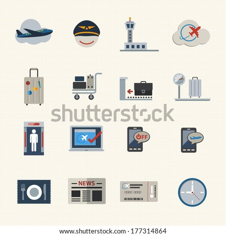 Airport icons set. Flat Icons set for Website and Mobile applications. Vector - stock vector